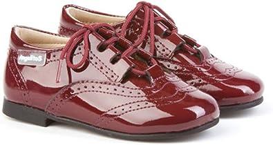 Inglesitos de Charol para Niña y Niño (Unisex) en Color Burdeos. Marca AngelitoS. Modelo 1505. Calzado Infantil Hecho en España. Número 23: Amazon.es: Zapatos y complementos