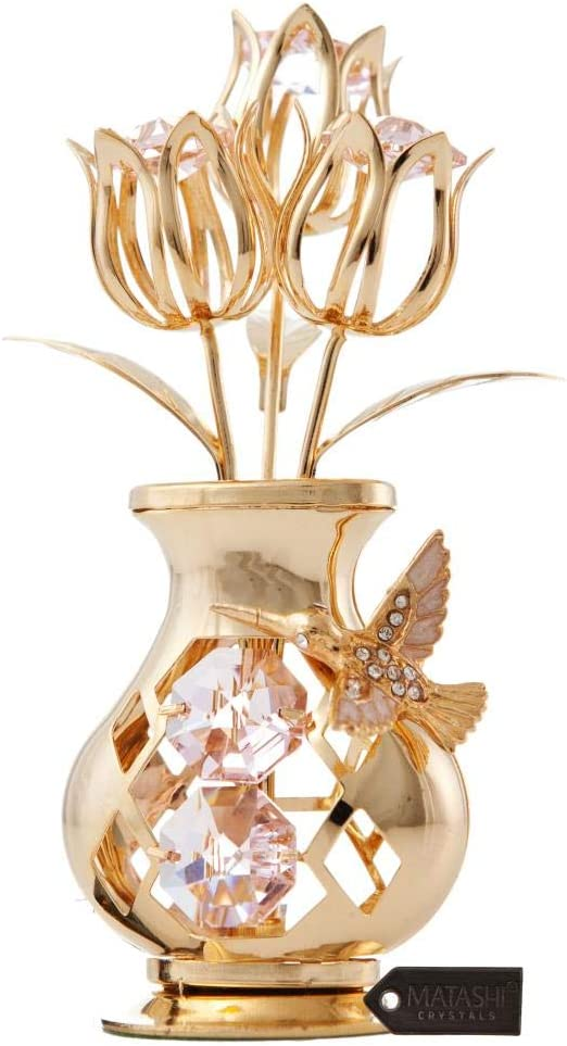Matashi 24K Gold Plated Crystal Studded Flower Ornament in Vase with Decorative Hummingbird Tabletop Ornament - Great Gift for Birthday Mother's Day Valentine's Day Anniversary, Home Office Decor