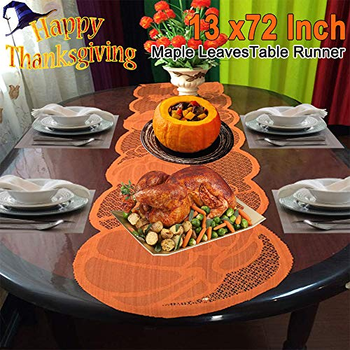 Fall Decorations Orange Pumpkin Table Runner Fall Table Runner 13 X 72 Inch Halloween Thanksgiving Taupe Maple Leaves Lace Runner for Thanksgiving Party Dinner Table Decoration Home Seasonal Decor (Home Decorations For Table)