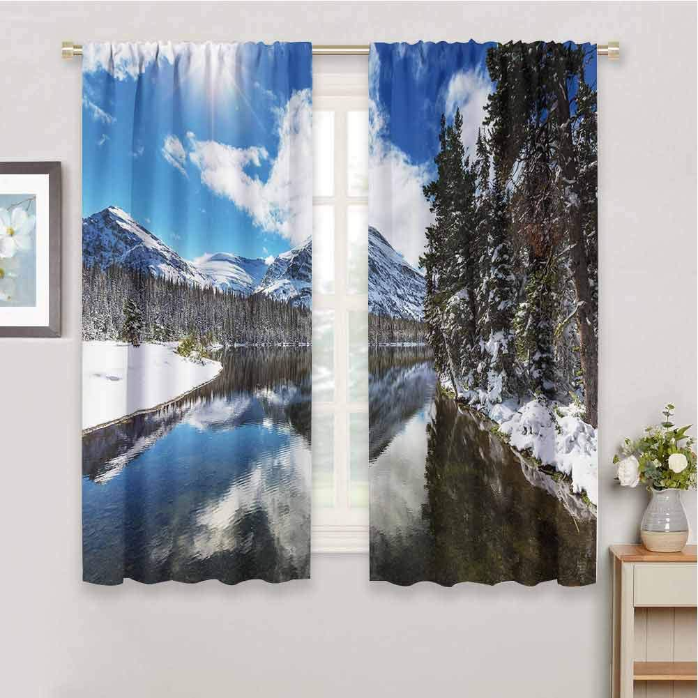 June Gissing Winter Dark Out Double Layer Curtains for Kids Bedroom, Tranquil View of Glacier National Park in Montana Water Reflection Quiet Peaceful Dark Out Waverly Curtain (84 x 72 Inch) by June Gissing