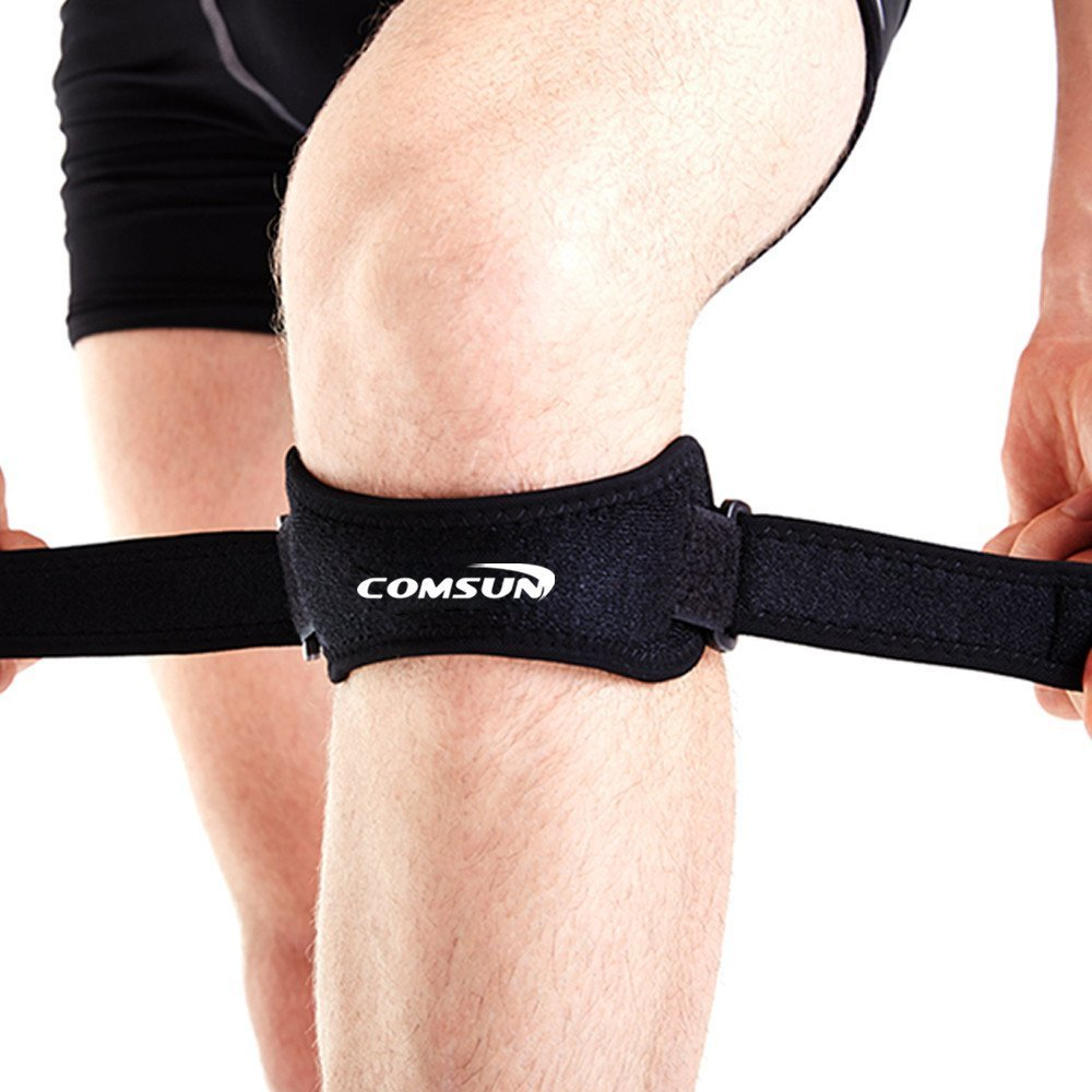 2 Pack Patella Knee Strap, Adjustable Patella Tendon Brace Support, Comsun Knee Strap Band Pads for Sports Gym Fitness Neoprene Black UK2-GYM-004