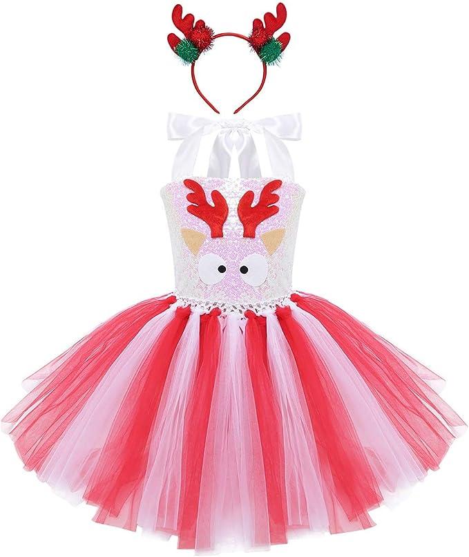 iiniim Disfraz Reno Ciervo Traje de Navidad Halloween Niña Vestido ...