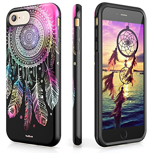 iPhone 7 8 Case Female Shockproof Printed Cover with Ring Kickstand Cute Durable Slim Dual Layer VeaYook Hybrid Rubber Anti-Scratch Impact Resistant Protective (Black Glitter Dream Catcher (Cute Printed)