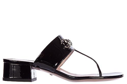 b9b2bcf6f Gucci Mujer Zapatillas Sandalias Chanclas en Piel Crystall Pintar Buckle n:  Amazon.es: Zapatos y complementos