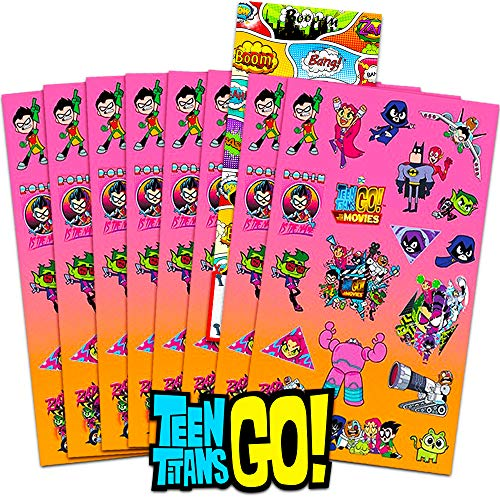 Teen Titans Go Stickers Party Supplies Pack ~ Over 120 Teen Titans Go Stickers with Separately Licensed Door Hanger (8 Teen Titans Go Party Favors Sticker Sheets) (Teen Titans Go) -