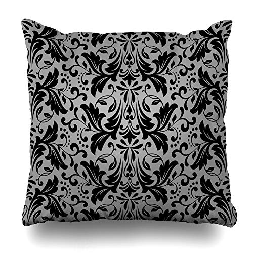 Ahawoso Decorative Throw Pillow Cover Leaf Gothic Damask Floral Pattern Royal Flowers On Antique Luxurious Abstract Victorian Medieval Home Decor Zippered Square Size 16