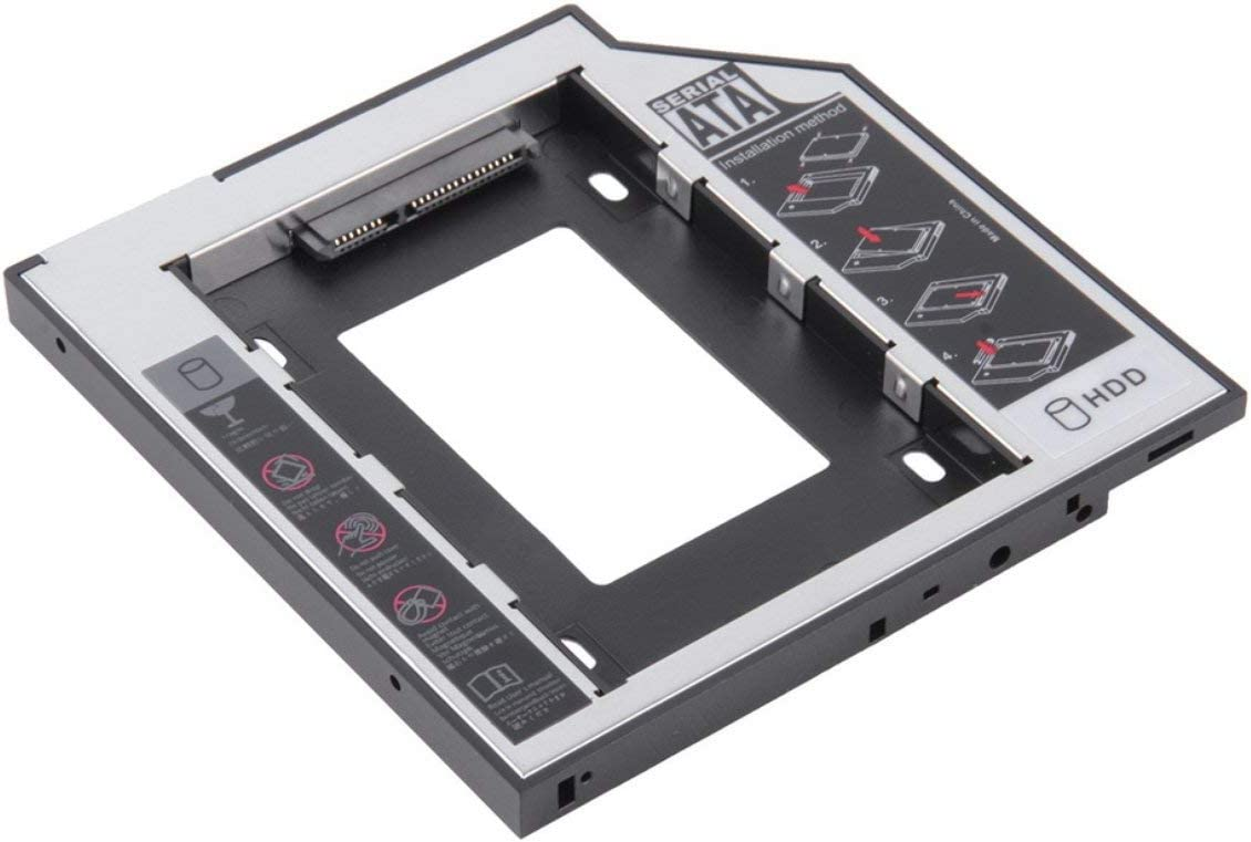 9.5mm Universal Aluminum SATA Second HDD SSD Hard Drive Caddy with 4 Screws for CD//DVD-ROM Optical Bay Adapter