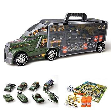 Modelo de Juguete para niños camión contenedor de Coches simulación de Carreras de Coches de aleación de Almacenamiento de Coche Coche portátil niño 3-9 ...