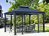 Cheap sunjoy Summerville 10ft x 12ft Hardtop Outdoor Patio Gazebo, Black