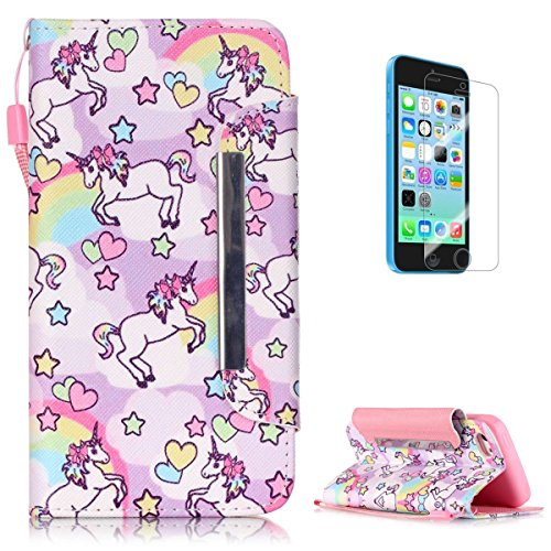 iPhone 5C Premium Leather Wallet Case [Free Screen Protector],KaseHom Cute Animal Unicorn Rainbow Pattern Design Folio Flip Magnetic Shockproof Protective PU Leather Case Cover Skin Shell