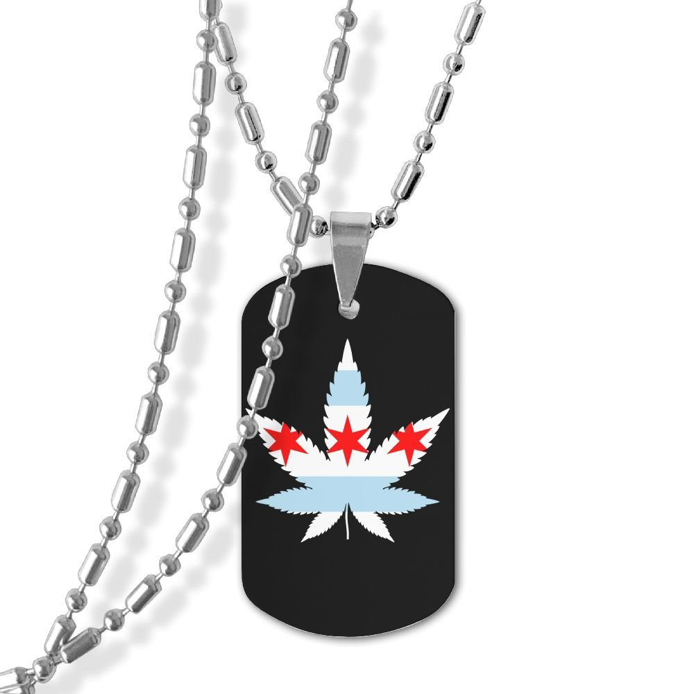 Jewelry Weed Chicago Flag Dog Tag Military Zinc Alloy Pendant Necklace