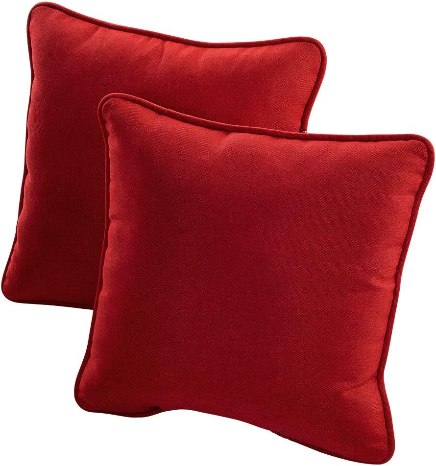 Quality Outdoor Living 29-BR02PW Decorative Throw Pillow Set of 2 , Bright Red