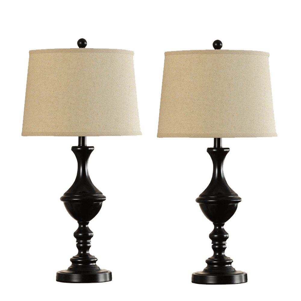 Catalina 18658-002 Trophy Table Lamp Metal Trophy Table Lamps with White Fabric Modified Drum Shades, , Bronze