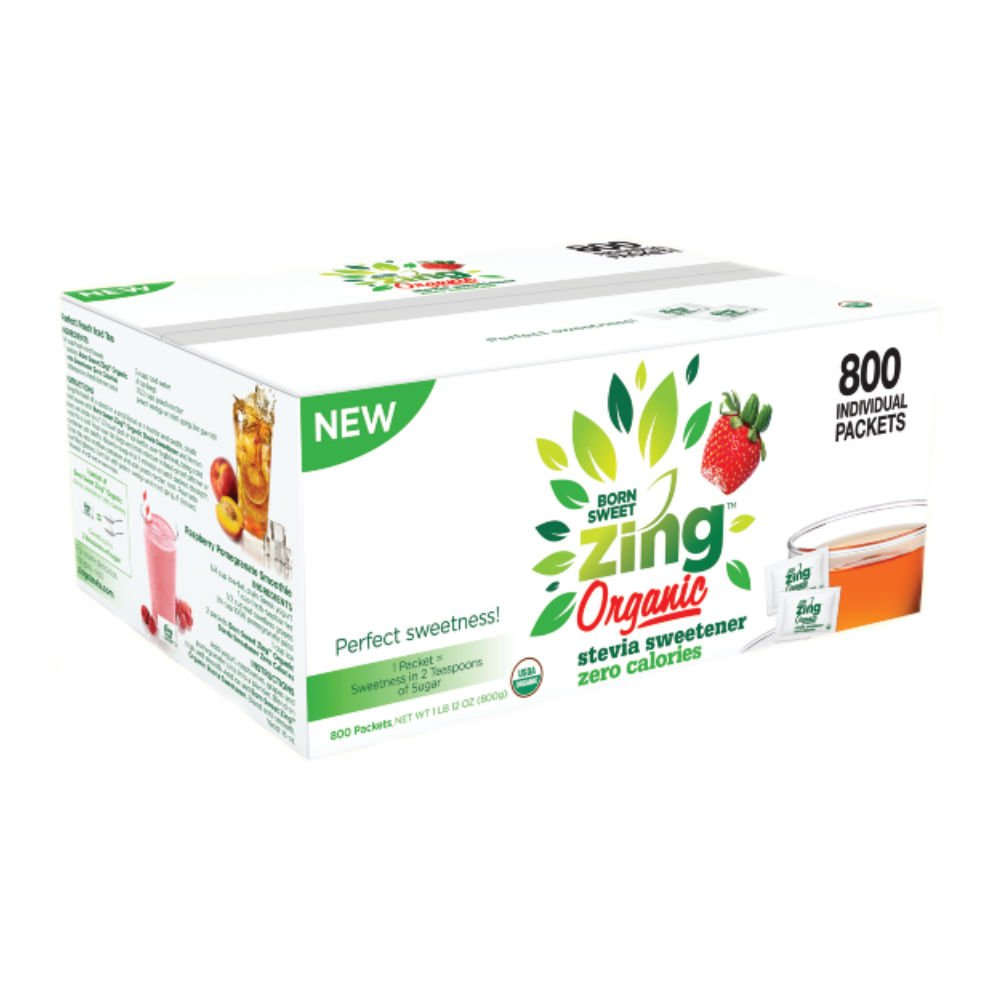 ''Born Sweet Zing'' Zero Calorie Organic Stevia Sweetener Packets - 800 Packet Count by Zing