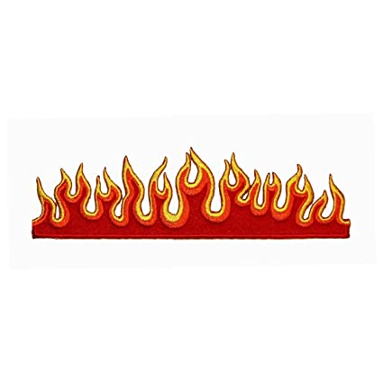 Red Flame Strip Patch Three Colored Fire Design Embroidered Iron On Applique