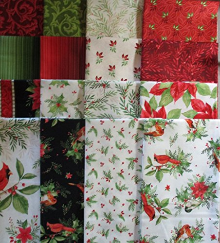 Songbird Christmas by Pez Costa from Maywood Studio 16 Fat Quarters 100% Cotton Quilt Fabric poinsettia