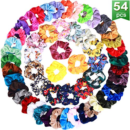 54 Pcs Hair Scrunchies 40 Velvet Hair Scrunchies 14 Chiffon Hair Scrunchies Hair Elastic Scrunchy Ties Ropes Scrunchie for Women or Girls Hair Accessories, 54 Assorted Colors Scrunchies.