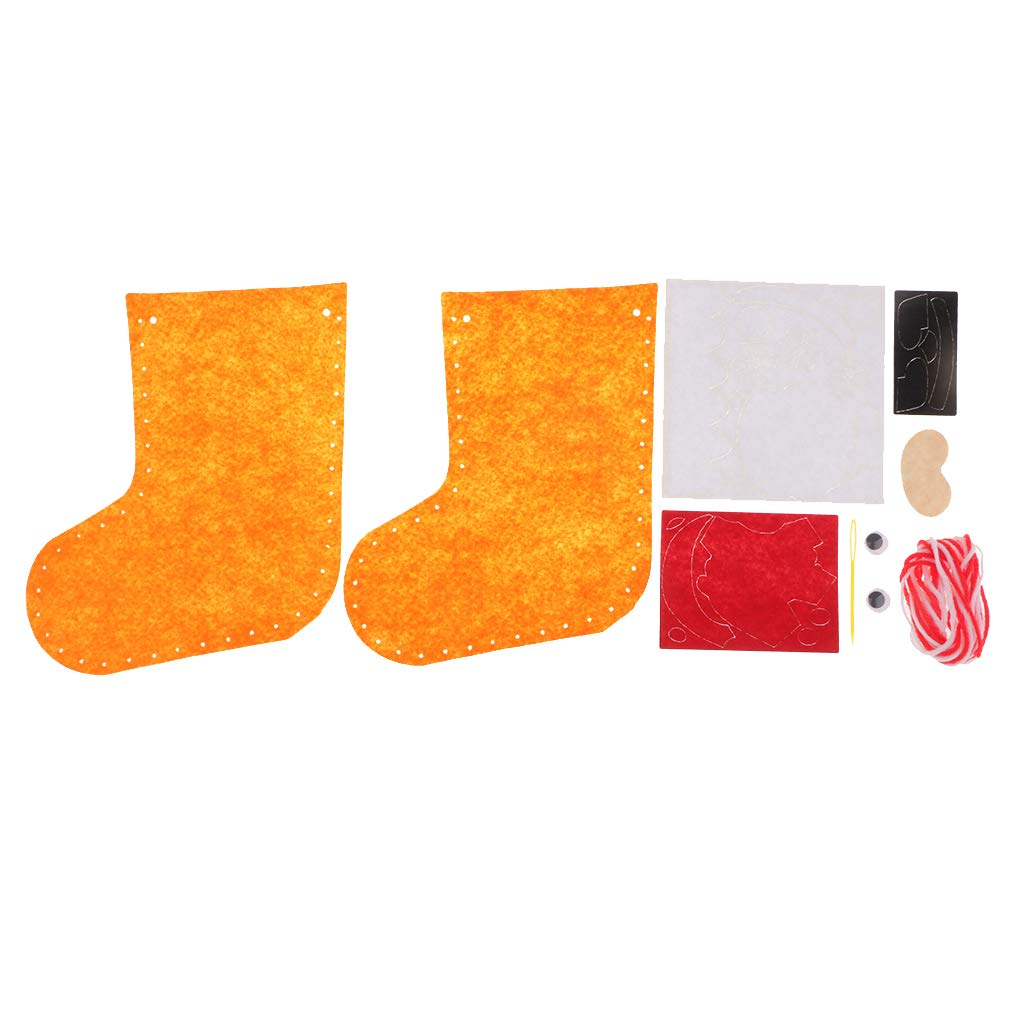 F Fityle 6X Chaussette Stocking P/ère No/ël Bonhomme De Neige Kit Feutrine Appliques Cadeau No/ël Vert Jaune