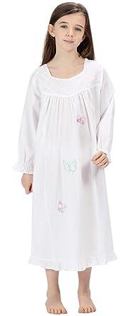 5f1e95862e Girls Nightdress 100% Cotton Butterfly Nightie Lucy White  Amazon.co ...
