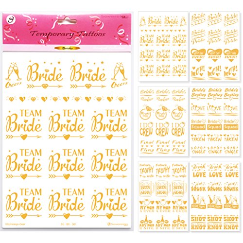 Bachelorette Party Flash Tattoos - Team Bride Tattoo Favors & Wedding Party Decorations - Bridal Shower Hen Party Gold Temporary Bridesmaid Stickers Accessories Bride Squad Bride Tribe - 75+(6 Sheets)