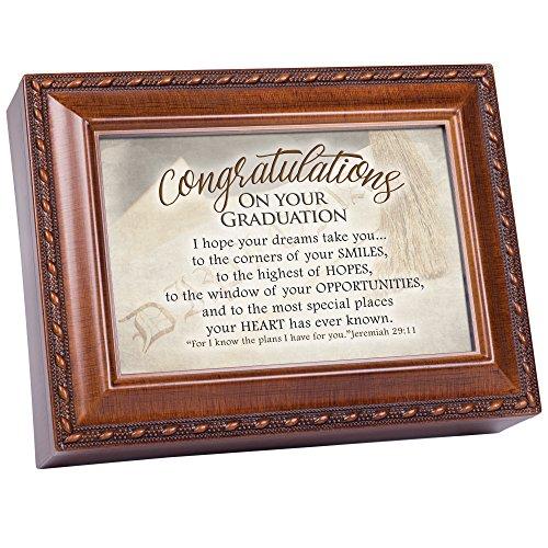 Congratulations On Graduation Woodgrain Inspirational Music Box Plays Pomp and Circumstance