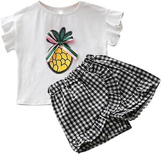 SamMoSon Clearance!2pc Neonato Ragazzi Bambino Ricamato Ananas Manica Corta Griglia T Shirt Top + Plaid  Pantaloncini  Pantaloni Outfits Clothes Set
