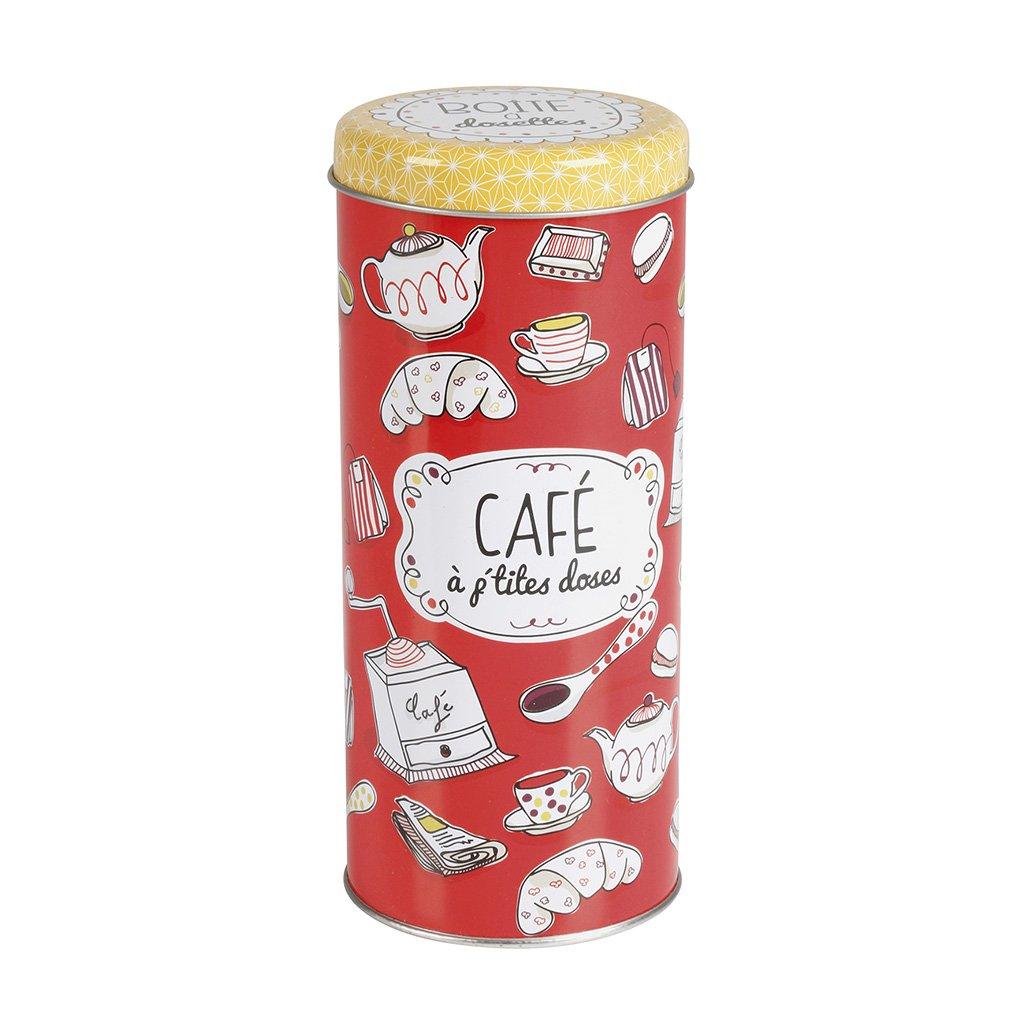 Rojo 7.5x7.5x18 cm Delys-By-Verceral Cafe-Color Bote Ordenaci/ón para Caf/é Metal