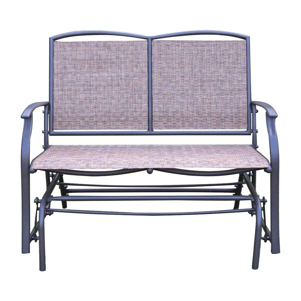 SLN Rocking Love Seats, Gliders Style for 2 Person with Rattan Wicker Sturdy Steel Frame, Brown