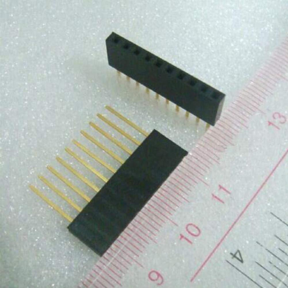 Zhuyu 10 piezas de 2,54 mm 10 Pin de aguja larga hembra Pin Header Band apilable Header Pins macho a hembra Pin para Arduino Shield