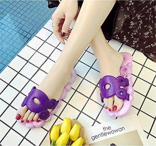 TELLW Bathroom Slippers for Male Female Summer Home Indoor Anti-Slip Thick Bottom Cool Slippers Women Purple d6eDX