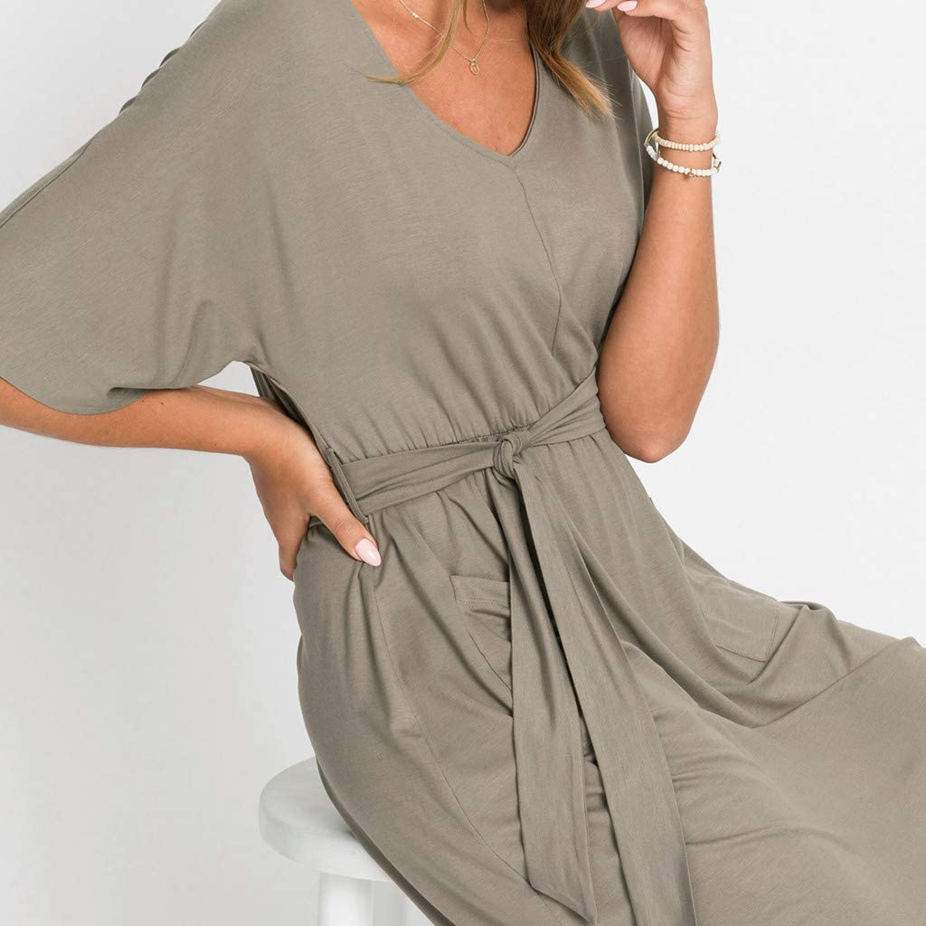 Dresses for Women Solid Color Mini Dress Half Sleeve Casual Plus Size Cocktail Party Sundress Summer
