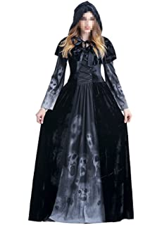 Womens Halloween Ghost Witch Hooded Costume Cloak Dress Outfit Black