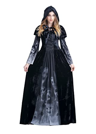 womens halloween ghost witch hooded costume cloak dress outfit blackadultsmall