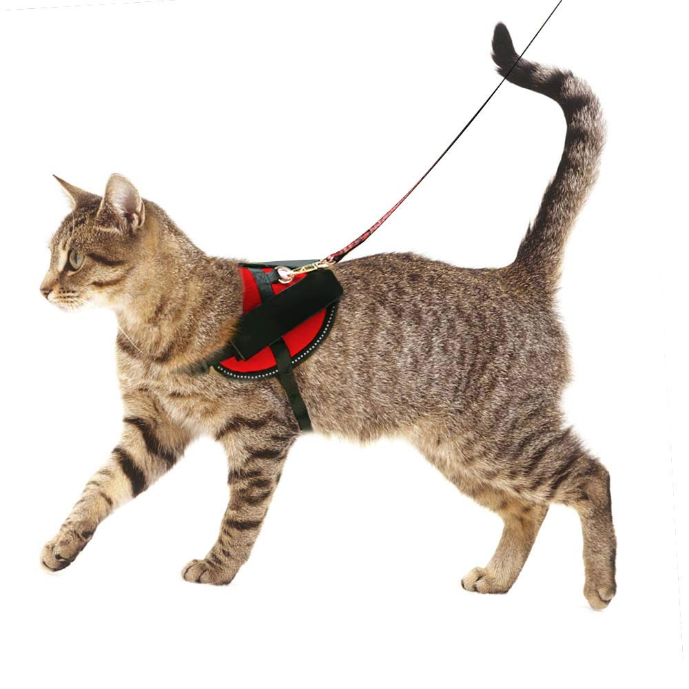 SHUNAI No Pull Cat Harness Padded Vest Pet, Adjustable Reflective Design,Nylon Material Great Fit Exotic,Ragdoll,British Shorthair,Persian,Maine Coon Cat,Red Large(Not Include Leash)