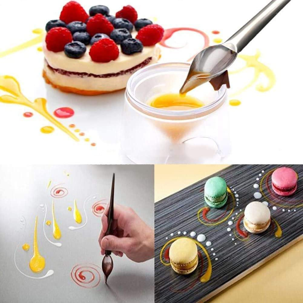 Deco Spoon Multi-Use Precision Chef Culinary Drawing Spoons for Decorating Plates,DIY Chocolate Cake Baking Tools Decorating Spoons 2 PCS Sauce Plating Art Pencil S+L