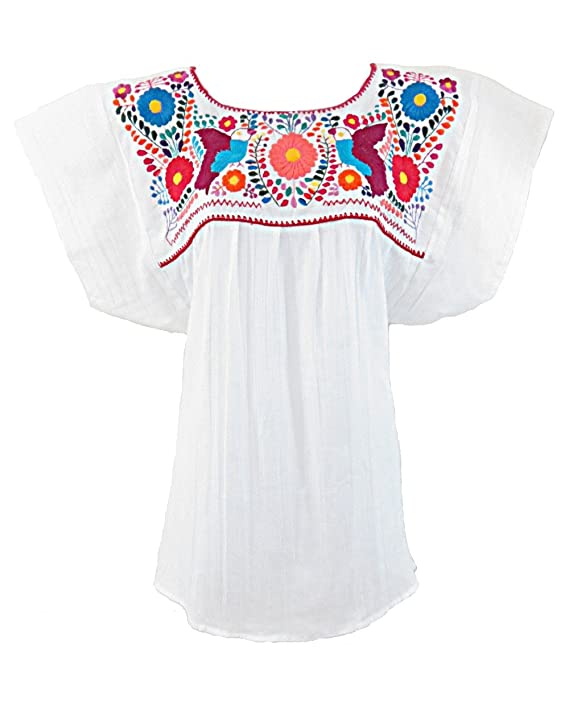 Ashir Aley White Mexican Embroidered Peasant Dressy Tops Blouses, White, OS  at Amazon Women's Clothing store:
