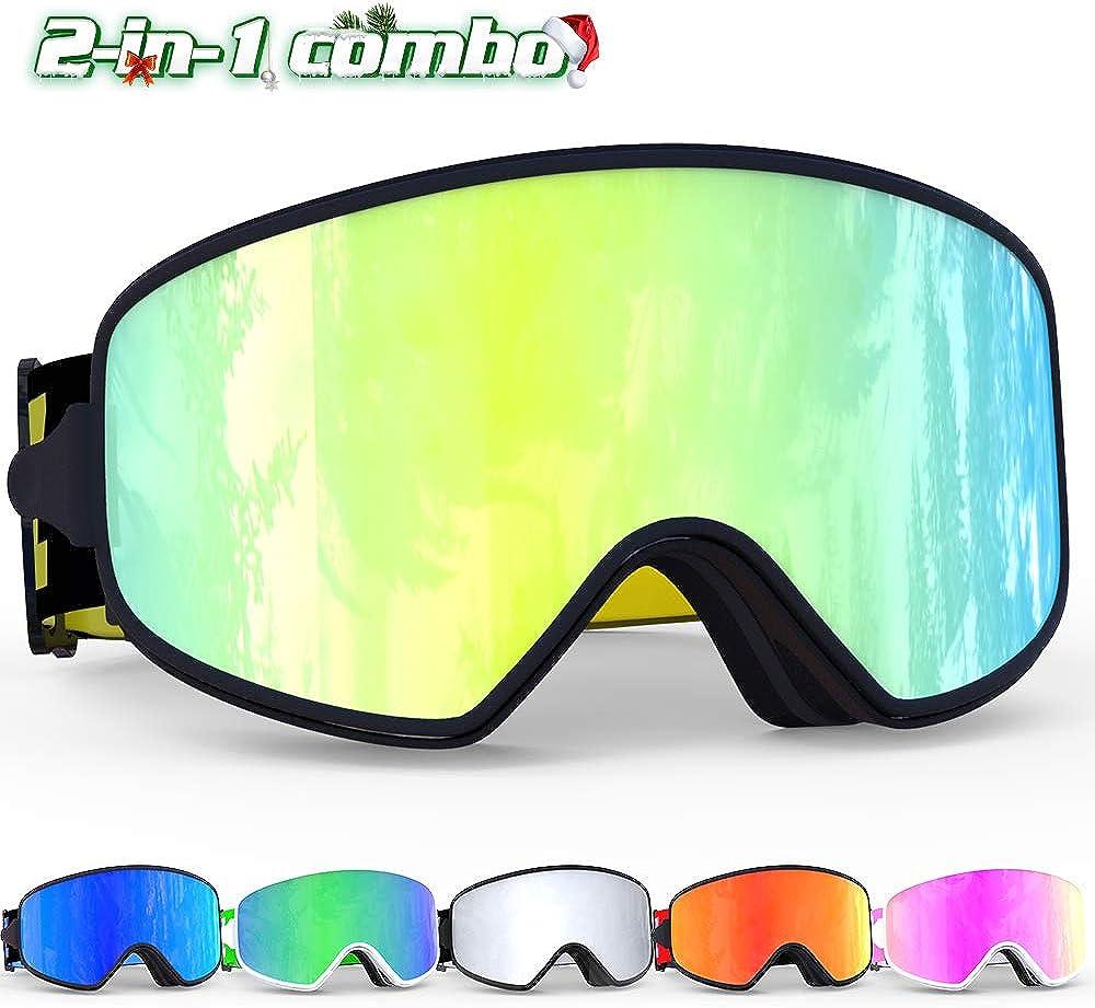 COPOZZ Ski Goggles With Case /& Yellow Lens UV400 Anti-Fog Spherical Ski Glasses