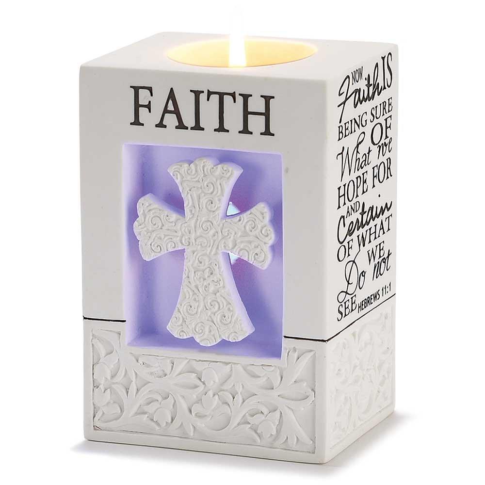 Lighted Votive Candle Holder - Faith/Hebrews 11:1