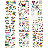 Akabsh 9 Sheets Rainbow Tattoos Rainbow Stickers Temporary Waterproof Tattoos for Pride Parades and Celebrations