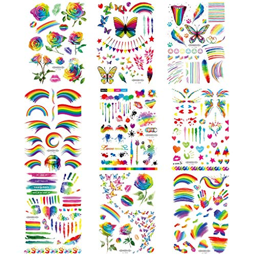 Akabsh 9 Sheets Rainbow Tattoos Rainbow Stickers Temporary Waterproof Tattoos for Pride Parades and