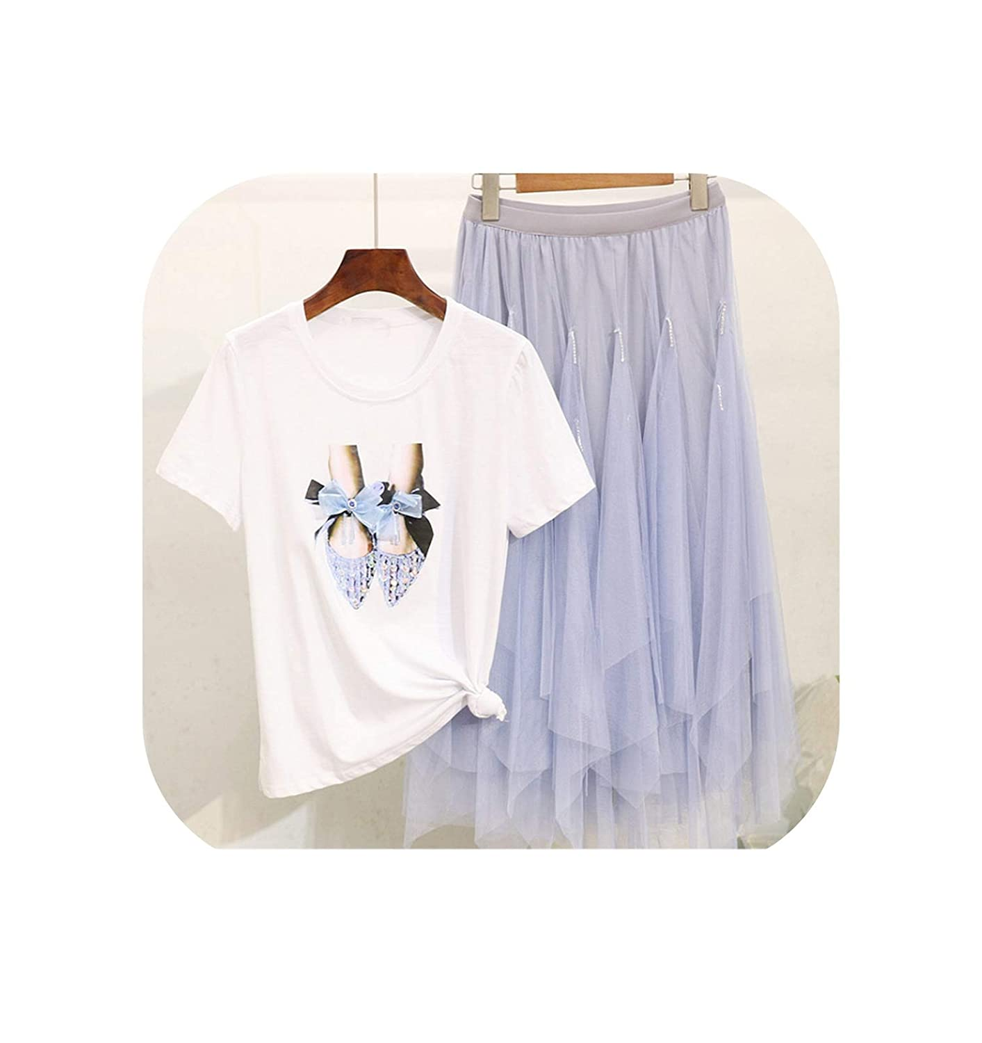 bluee shoes Cute Emma Female New Pearl Bear Printed Short Sleeve TShirt + Mesh Skirt Fashion Two Piece Suit Female Student