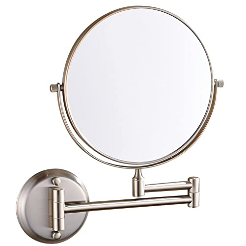 GuRun Wall Mount Vanity Makeup Mirror with 10x Magnification Brush Nickel,Two-Sided Manifying Mirror, 8 Inch, M1306N 8 Inches,10x