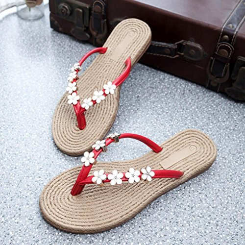 Amiley Kvinnor Blomma Tillfällig Flat Flip Flops Sandaler Loafers Böhmen Stranden Skor Röd