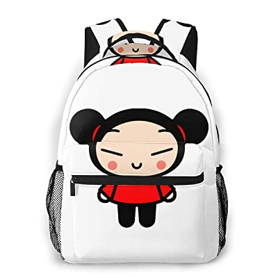 Pucca Canvas Backpack Zipper College School Bookbag Daypack Travel Rucksack Gym Bag For Youth: Clothing