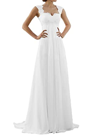f11ef9fac72ea MILANO BRIDE Romantic Beach Wedding Dress A-line Empire-Waist Maternity Gown  at Amazon Women's Clothing store: