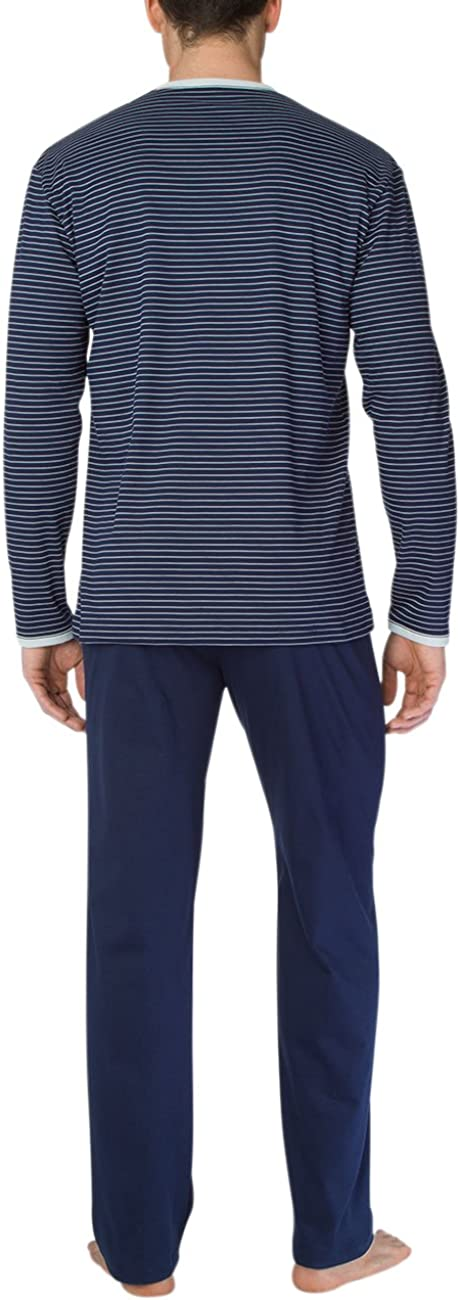 Calida Mens Anthony v Neck Cotton Knit Pajamas Set 43462
