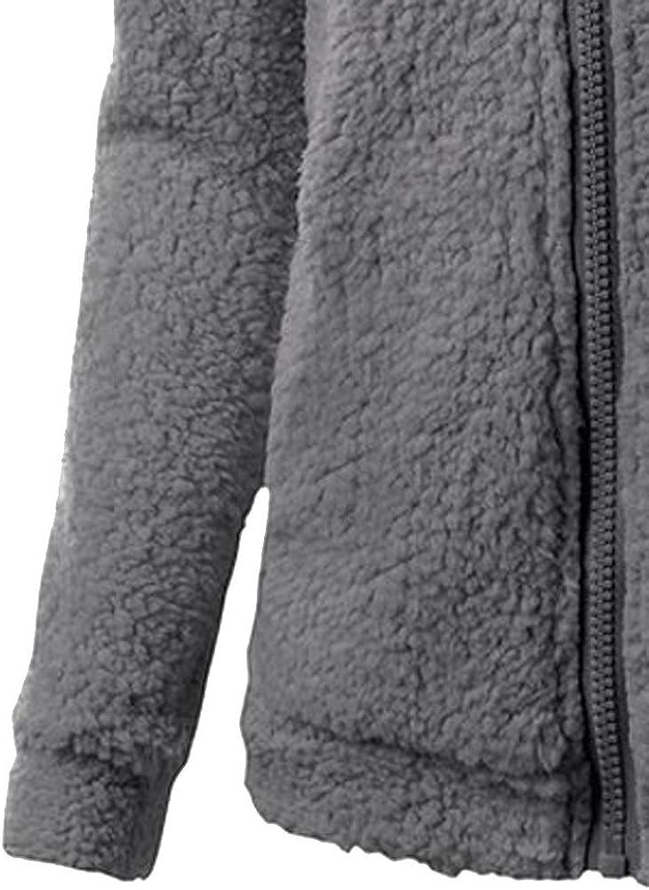 SuperUS Women Hooded Sweater Coat Winter Warm Wool Zipper Coat Cotton Coat Outwear