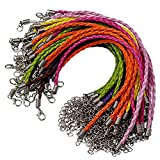 50pcs Bracelet Making Cord, Lystaii Multi Color Leather Plaited Bracelet Cords Ropes Charms with Lobster Claw Clasp for Bracelets Jewelry Making DIY Handicrafts 9.25inch Braided Ropes for Wrist