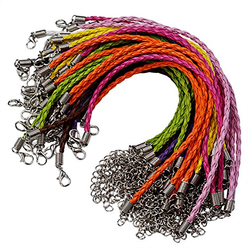 (50pcs Bracelet Making Cord, Lystaii Multi Color Leather Plaited Bracelet Cords Ropes Charms with Lobster Claw Clasp for Bracelets Jewelry Making DIY Handicrafts 9.25inch Braided Ropes for Wrist)