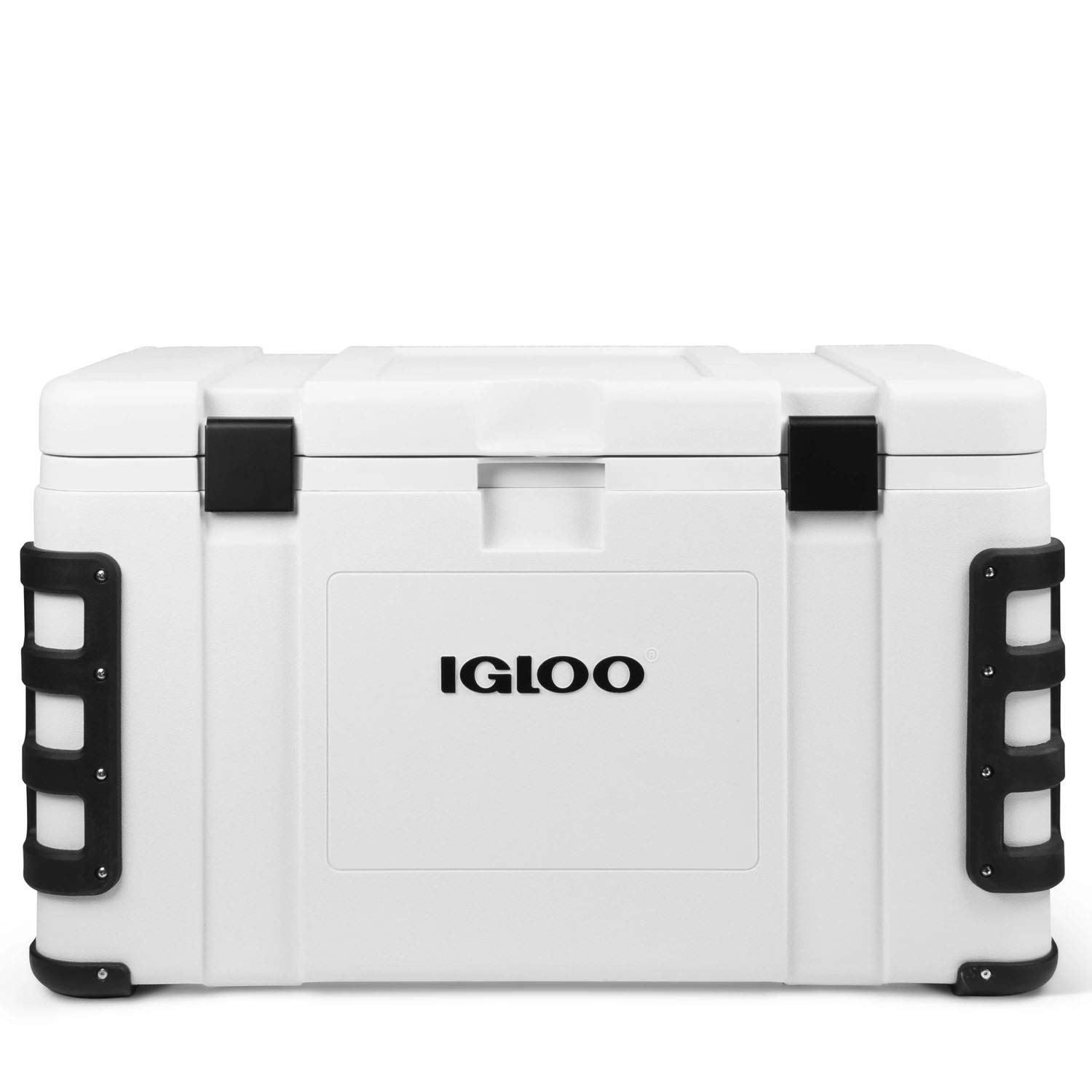 Igloo Leeward Cooler with Cutting Board, Fish Ruler, and Tie-Down Points – Marine-Grade Ice Chest – White 124 Quart